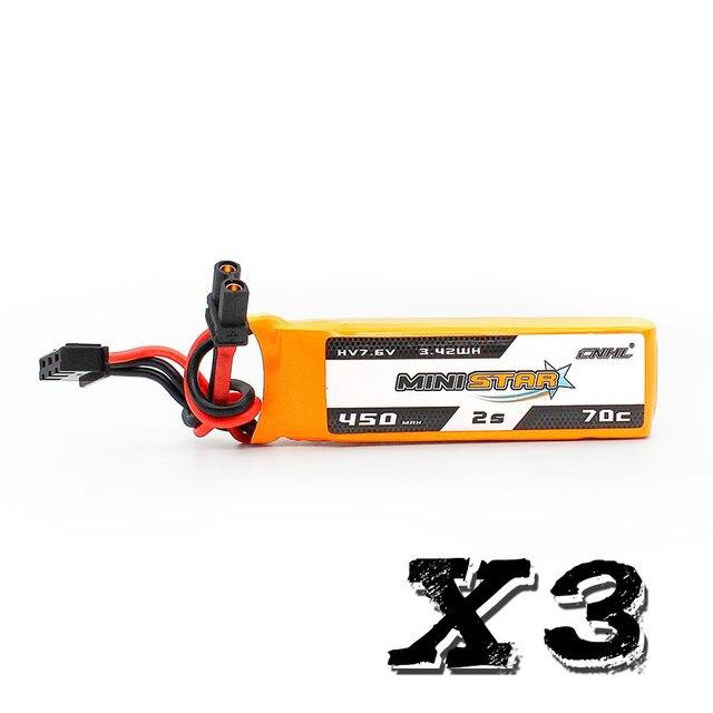 3 팩 CNHL MiniStar HV 450mAh 7.6V 2S 70C Lipo 배터리 (XT30U 플러그 포함)
