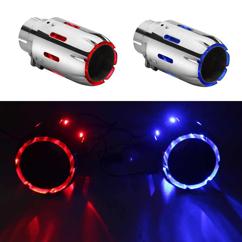led tip muffler exhaust tips mufflers led light 304 stainless steel red blue colour cn origin sk