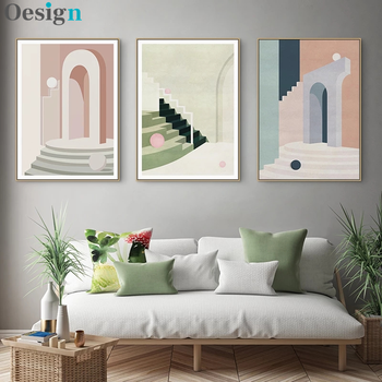 Abstract Geometric Retro Building Canvas Painting Wall Art Picture For Living Room Nordic Literary Poster Decoration Picture image