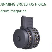 AK Uncle  Gel Ball Blasting Accessories Jinming 8M4A1/J9M4 J10 ACR FJS416 Universal Drum Magazine Metal Nylon Drum Magazine