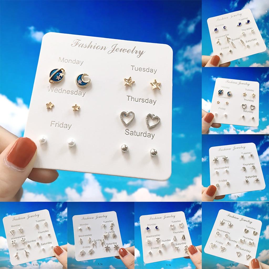 Mollikar 7 Pairs of Simple Travel Set Earrings Temperament Fashion Earrings for Women Girls