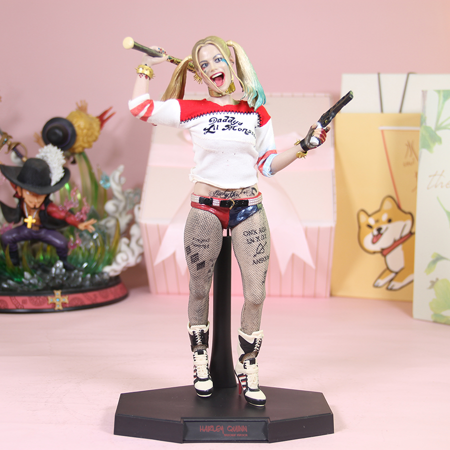 New 28cm Real Clothes Undress Suicide Squad <font><b>Sexy</b></font> Harley Quinn <font><b>1</b></font>/6th Scale Action Figure Model Toy <font><b>Doll</b></font> Gift B19 image