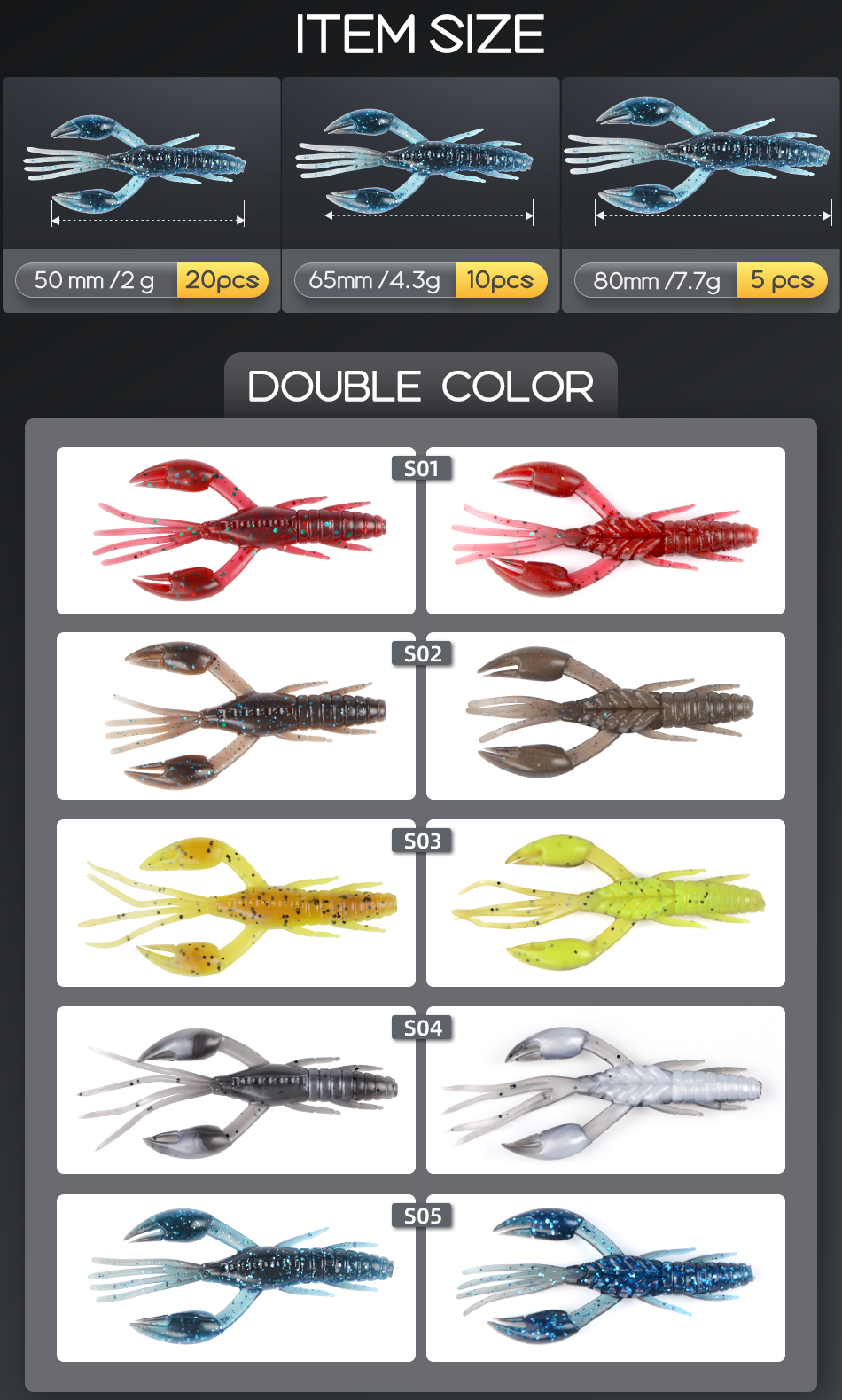 MEREDITH 50mm 65mm 80mm DoliveCraw Fishing Lures Craws Shrimp Soft Lure Fishing Bait Wobblers Bass Lures Soft Silicone