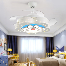 Nordic Modern Ceiling Fan Cartoon Children Room Ceiling Light with Remote Control Dining Room LED Invisible Fan Lamp 110V 220V modern black home bedroom room light lamp led children baby teen kids room ceiling light 220v light fixtures with remote control