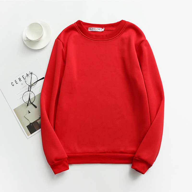 Women Solid Sweatshirts Korean Style Autumn Ladies Student Round Neck Long Sleeve Loose Pullover Tops WDC6301 14