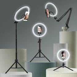 Кольцевой светильник для селфи, светильник для фотосъемки, светодиодный обод лампы с мобильным держателем, большая подставка для штатива, к...