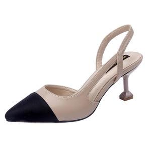 Image 5 - รองเท้าผู้หญิง 6 ซม.รองเท้าส้นสูงSlingbackปั๊มผู้หญิงเซ็กซี่Pointed Toe Partyงานแต่งงานElegant Officeรองเท้าส้นสีดำBeige