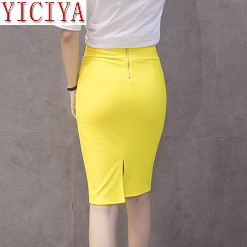 High Waist Elastic Pencil Skirt Female Bodycon Zipped Skirts Office Summer Womens 2020 Knee Length Back Split Ladies Saia Yellow