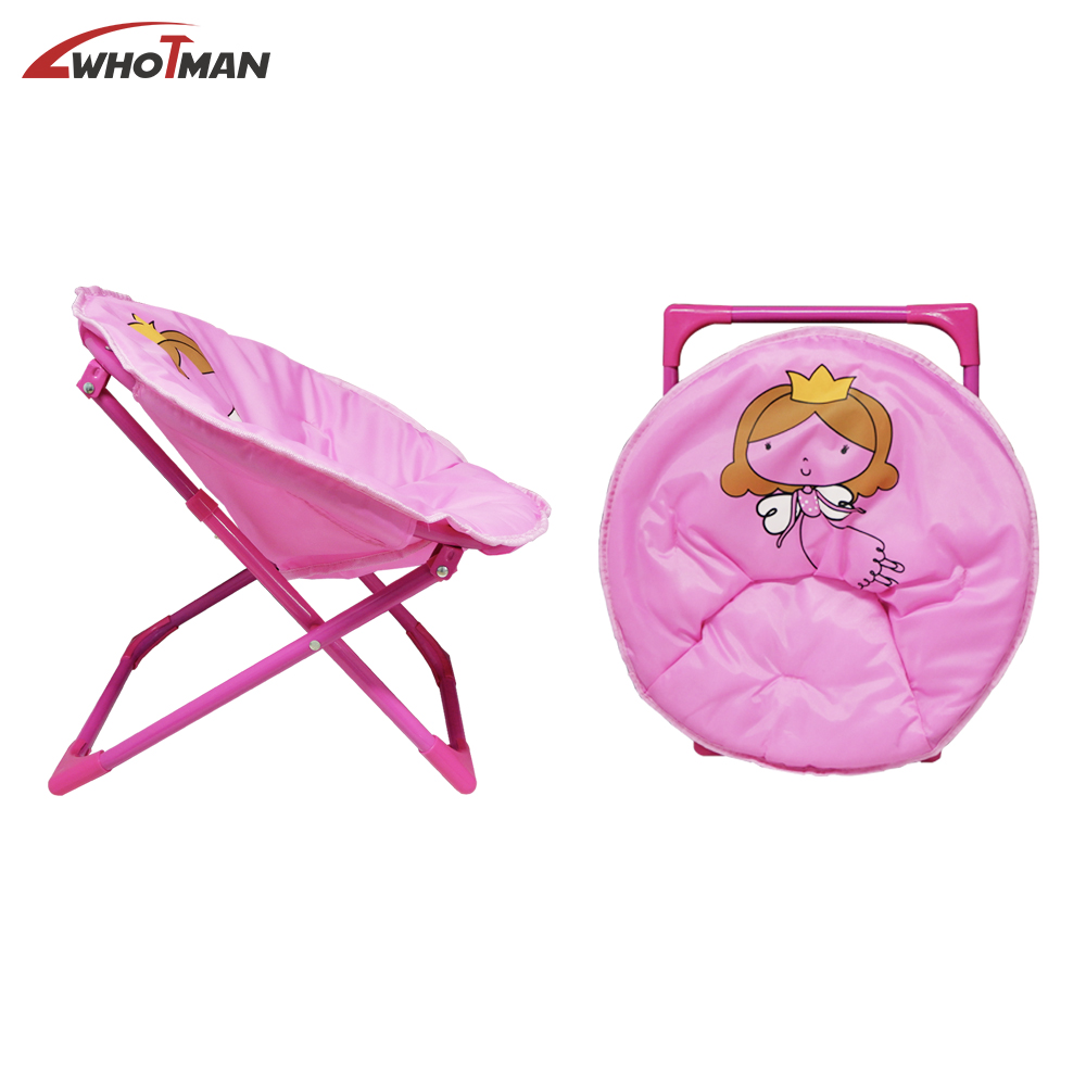 Moon Saucer Camping Chair Portable Folding Round Chair Steel Frame Padded Cushion With Cartoon Pattern Lounge Chair For Kids