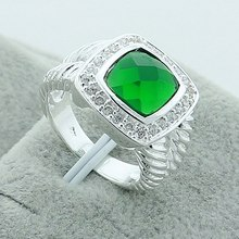 Wholesale Fashion Jewelry AAA CZ Laboratory Green Quartz 925 Silver Color Ring Size 8 Women Top Quality Gift Free Shipping