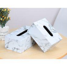 Прямоугольная коробка для салфеток из искусственной кожи с мраморным покрытием для лица, держатель для салфеток, диспенсер для бумажных полотенец, контейнер для домашнего офиса, декор для автомобиля