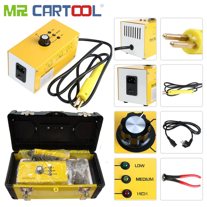 Mr Cartool 220V AC Hot Stapler Kit Plastic Welder Machine Auto Bumper Car Body Repair with 700 Pcs Welding Wire-in Sheet Metal Tools Set from Automobiles & Motorcycles on