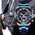 カレンメンズ腕時計ブルーダイヤル日メンズビジネス男性の腕時計防水贅沢男性の手首には男性