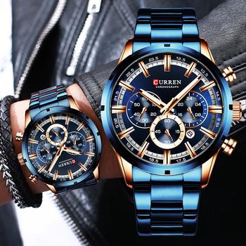 Curren męski zegarek niebieska tarcza pasek ze stali nierdzewnej data męskie biznesowe męskie zegarki wodoodporne luksusowe męskie zegarki na rękę dla mężczyzn tanie i dobre opinie 24cm Moda casual QUARTZ NONE 3Bar Zapięcie bransolety CN (pochodzenie) STOP 13mm Hardlex Kwarcowe zegarki bez opakowania