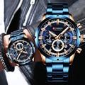 Curren mannen Horloge Blauwe Wijzerplaat Roestvrij Stalen Band Datum Mens Business Mannelijke Horloges Waterdicht Luxe Heren Horloges voor mannen
