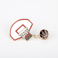 Nieuwe Cute Fashion Exquisite Basketbal Bal Box Frame Pin Broche Legering Basketbal liefde fans Badge Pin Gift Trui Accessoires- 40(China)