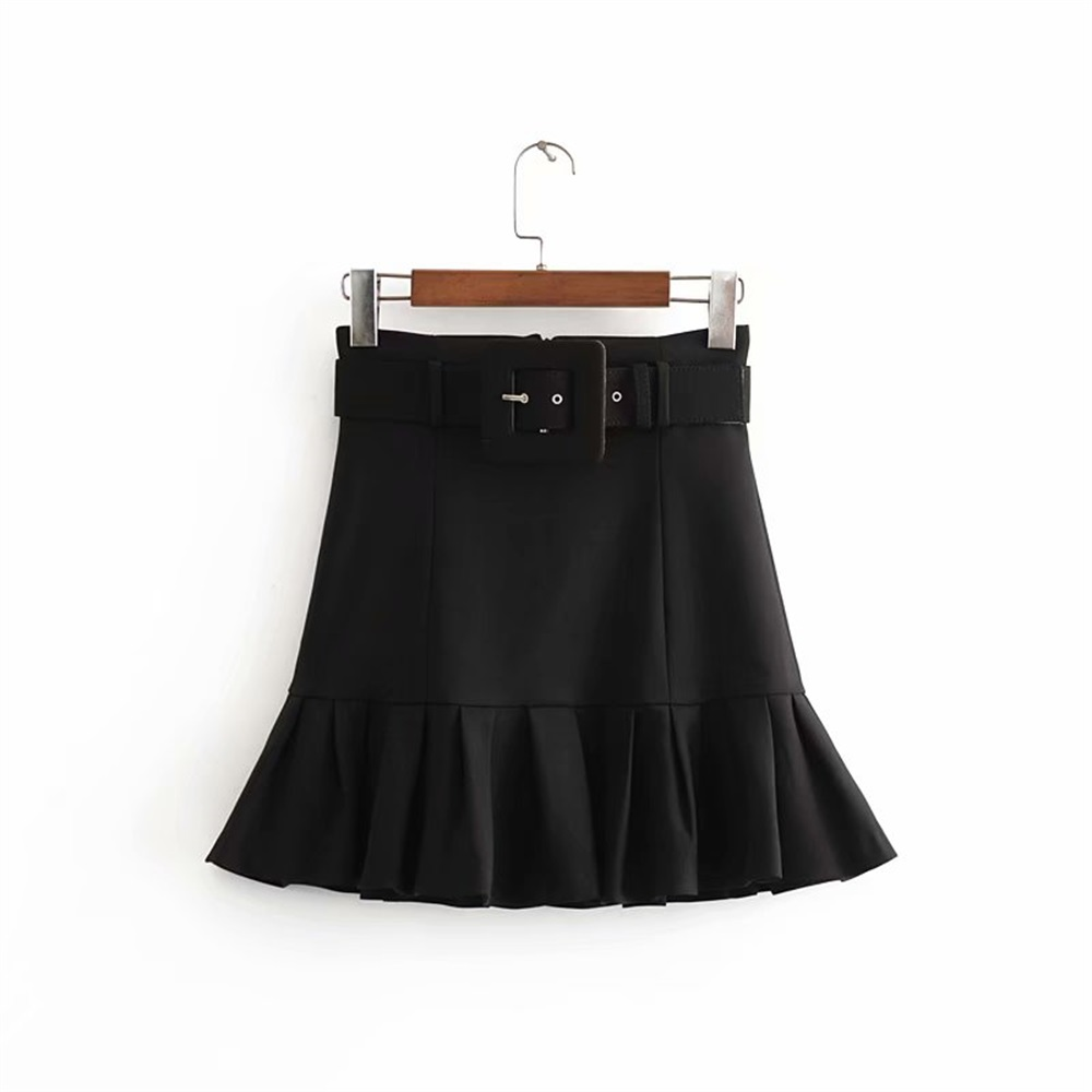 Za Women's New Fall 2019 Vintage High Waist With Belt Pleated Hem Short Skirt Small Pleated Hem Mini Skirt 0200423800