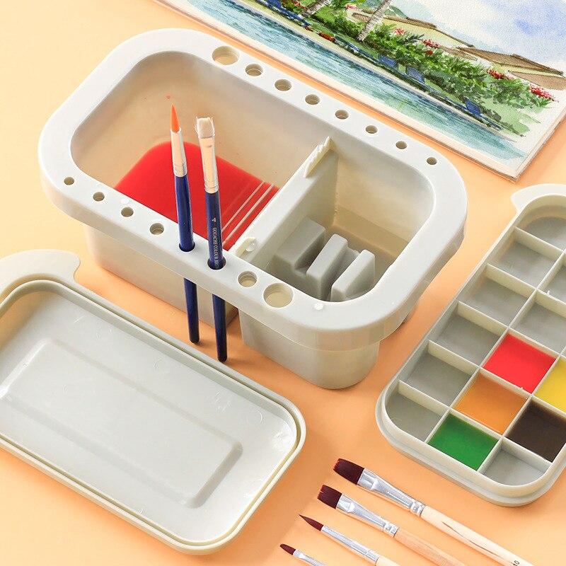 2021 Brush Washing Bucket Multifunction Pen Barrel Brush Washer Art Supply Oil Acrylic Watercolor Tool Art Palette Brush Holder