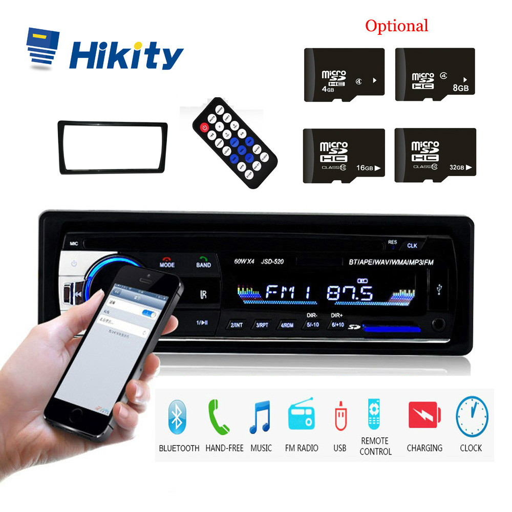 Hikity 1 Din JSD-520 Bluetooth Radio SD MP3 Player Car Radios Stereo FM/USB/radio remote control For phone Car Audio image