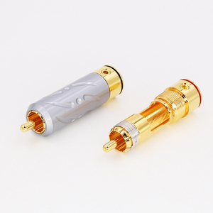 Image 5 - 2Pieces High Quality VR109G Pure Copper Gold Plated RCA Plug Connector hifi Audio RCA Plug connector audiophile cable Plug
