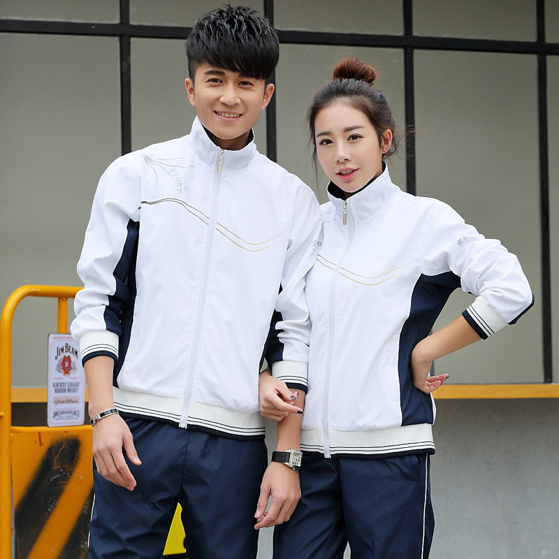 Spring And Autumn New Style Stand Collar Long Sleeve Couples Sports Set Men And Women Casual Students Thin Set Business Attire M