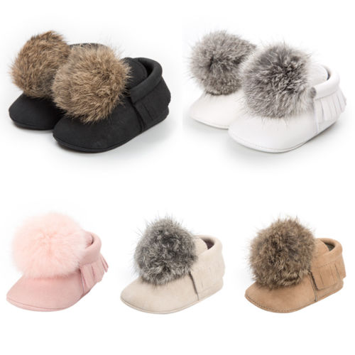 Winter Newborn Baby Girls Pom Shoes Soft Sole Anti-Slip Shoes Prewalker Trainer Pram Princess Casual Sneaker 0-18M
