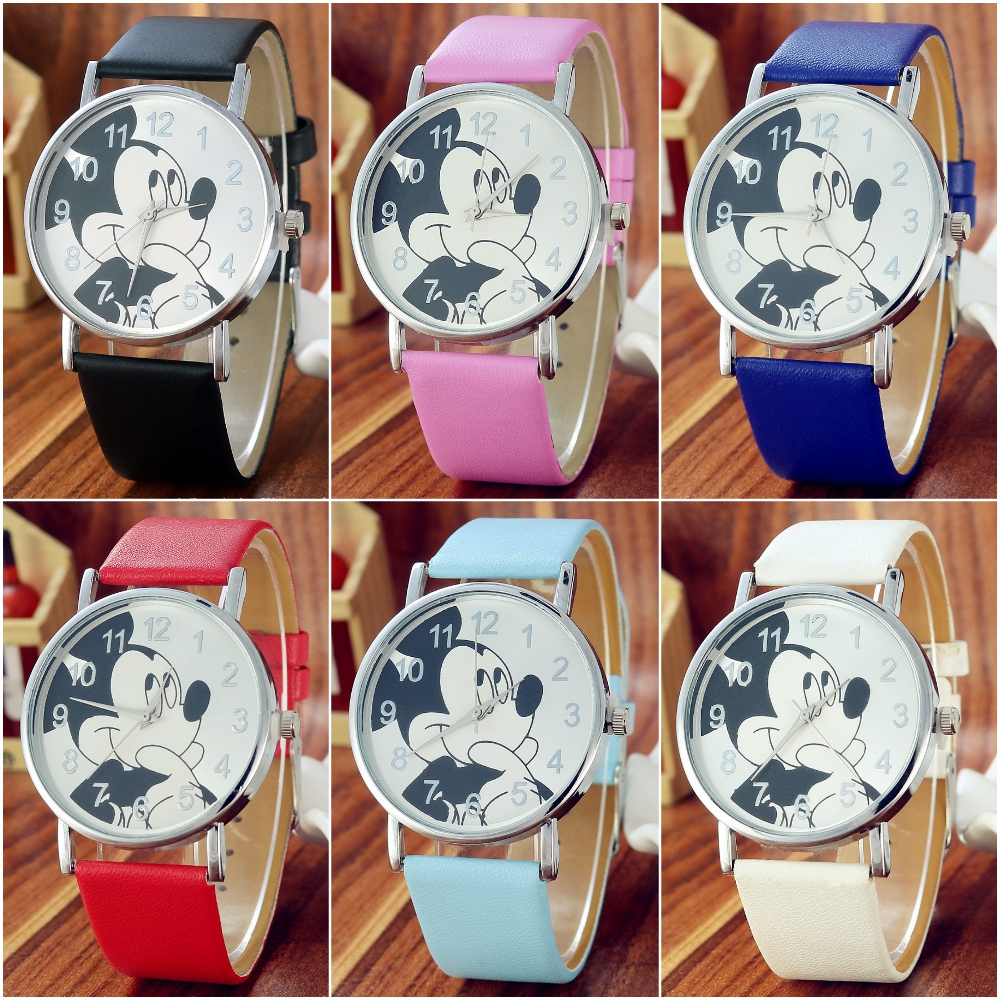 Cartoon Mouse Toy Children Watch For Girls Boys Gift Students Clock Fashion Casual Kids Watches Leather Child Quartz Wrist Watch