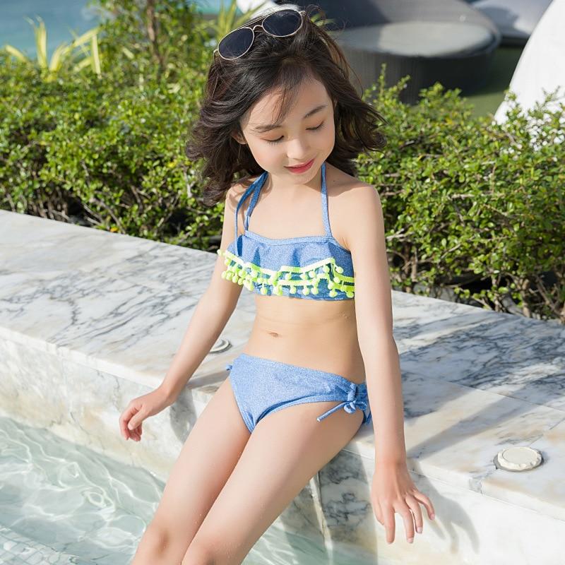 INS Children Two-piece Swimsuits GIRL'S Bathing Suit Big Boy GIRL'S Bikini Furry Ball Tour Bathing Suit Hot Springs Swimwear