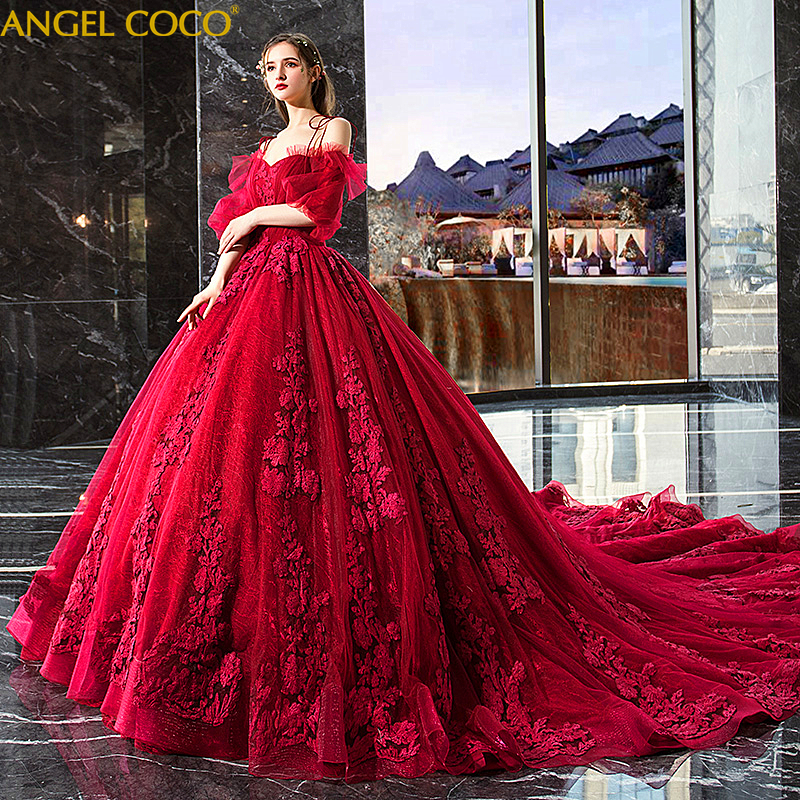 Pregnant Dress Romantic Burgundy Flower Maternity Dress Fashion Elegent Luxury Long Tail Gown Pregnancy Dress Robe De Mariee