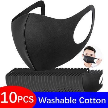 10 Pcs Washable Mouth Mask Black Cotton Cloth PM25 Filter Respirator Dust Proof 3D Fashion Face Masks Reusable FPP2 Adult PM 2.5