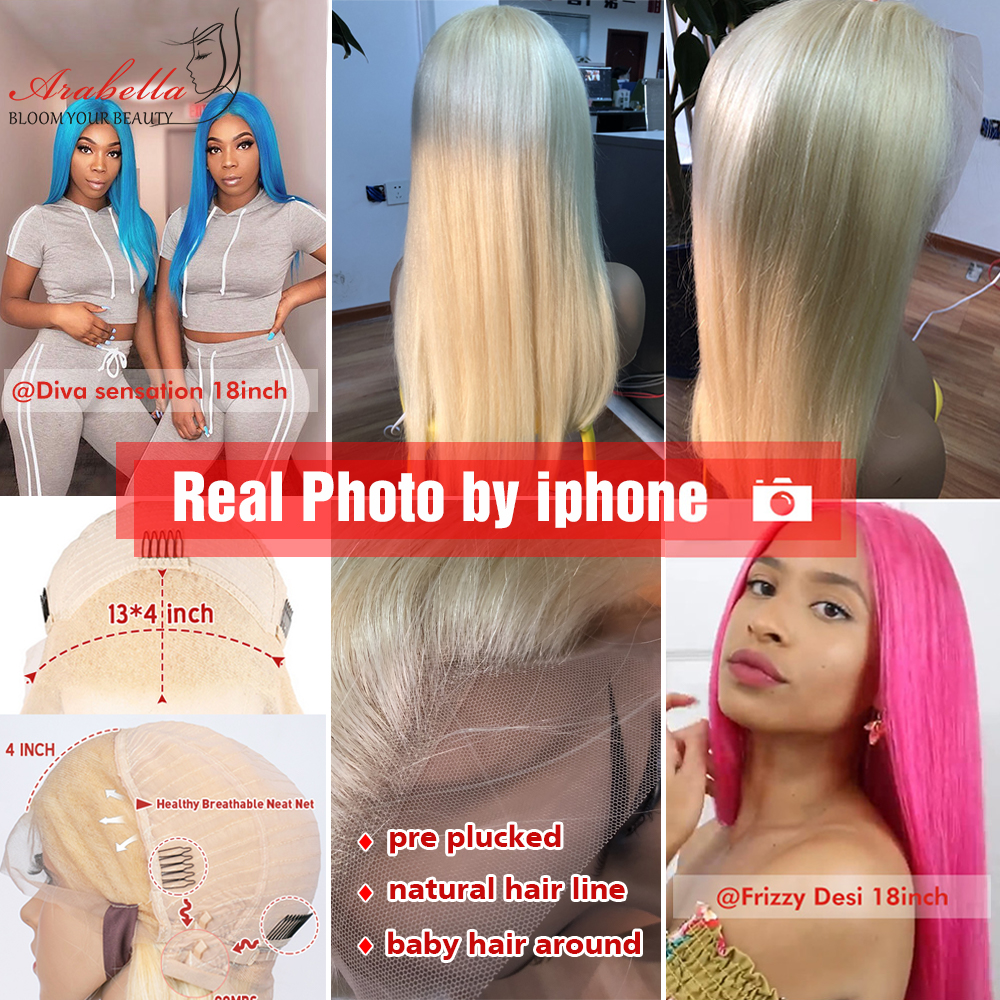 613 Lace Frontal Wig 100%  Wigs Arabella Long Straight Wig Pre Plucked 13x4   Blonde Bob Lace Front Wig 4