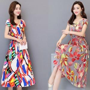 Dresses Mujer Plus Size Women's Sand Beach Vacation Beach Dress Summer Cotton Silk Short Sleeve Floral Vestidos Female New Z279