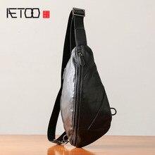 купить AETOO Chest bag men's leather casual men's shoulder Messenger bag Korean version of the tide fashion pockets leather small backp дешево