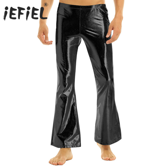 iEFiEL Adult Mens Fashion Club Wear Shiny Metallic Disco Pants with Bell Bottom Flared Long Pants Dude Costume Parties Trousers 1
