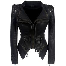 Пальто мотоциклетная куртка женская зимняя Осенняя черная модная верхняя одежда искусственная кожа PU куртка Готическая искусственная кожа пальто