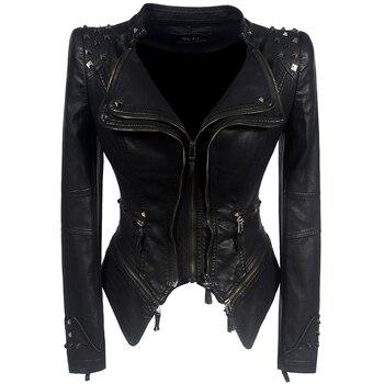Xnumx معطف دراجة نارية سترة النساء الشتاء الخريف الأسود موضة قميص فو الجلود pu سترة القوطية فو الجلود معاطف