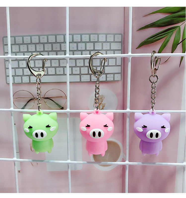 Chaveiros para uma mulher Dos Desenhos Animados stereo silicone porco bonito corrente chave para a menina keychain animal pingente chave cadeia calças porco pingente