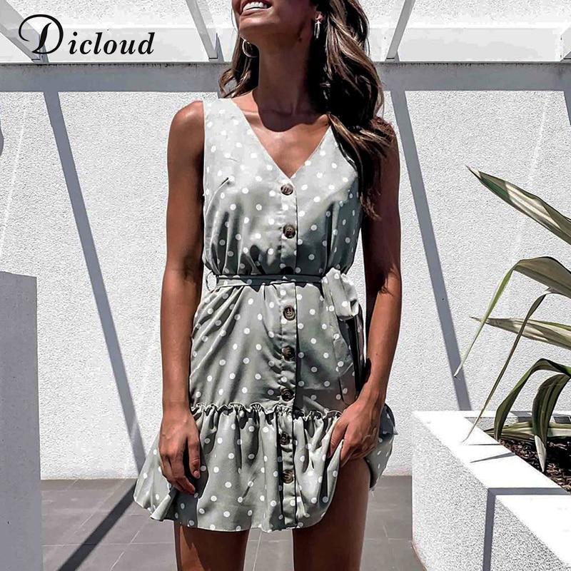 DICLOUD повседневное летнее пляжное платье в горошек без рукавов с v образным вырезом на пуговицах белое зеленое платье трапециевидной формы с поясом 2020 для женщин|Платья|   | АлиЭкспресс