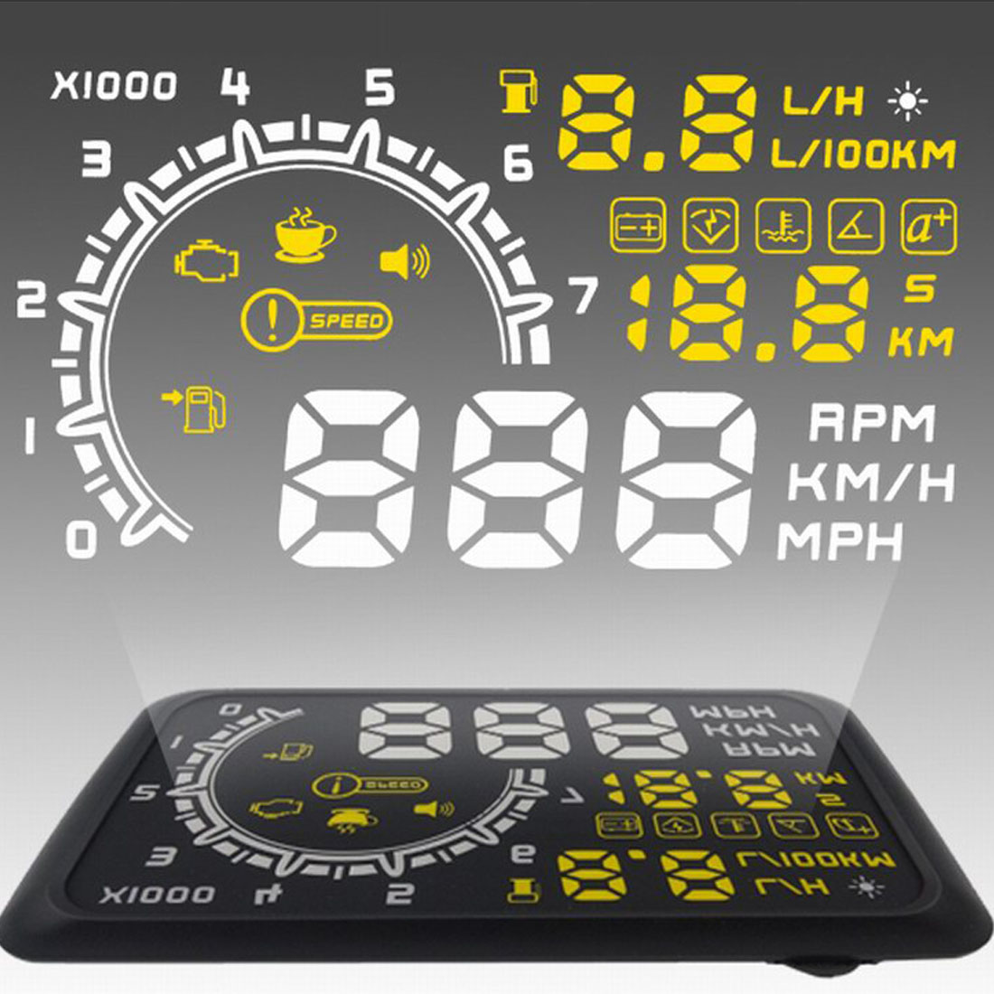 On-board Computer Car Speed Projector Speedometer Head-up Display Hud Obd2 Windshield Projector Engine Failure Fuel Consumption