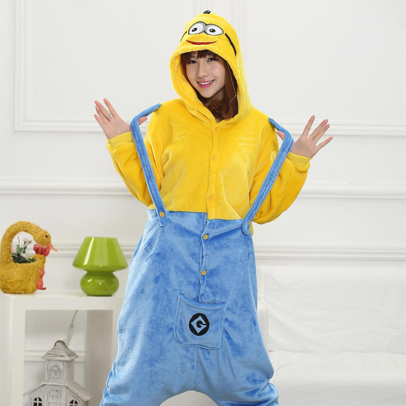 Funny Cute Minions Onesie Kigurumis Anime Pajama For Women Girls Winter Warm Sleepwear Home Jumpsuit Adult Christmas Overalls