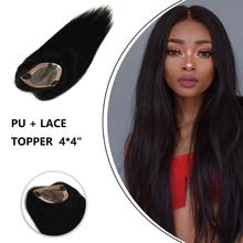 Topper-Piece Hair Human-Hair-Wigs Lace Remy Natural-Color Women on PU MW for 16-18-3-Clips