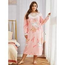 Doib женская ночная рубашка большого размера розовая с мультяшным