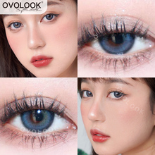 OVOLOOK-2pcs/pair Lenses Beautiful Eyes Color Contact Lenses Cometic Natural Pupil Colored Lenses for Eyes Yearly Use(Dia:14.2mm