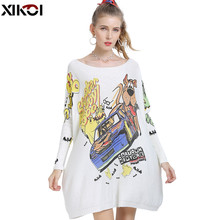Oversized Sweaters Jumper Knitted Dog-Print Dresses Pull Women Winter Wool XIKOI Casual