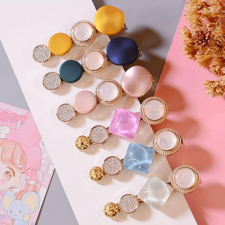 M MISM 1Set=1/2/3/4Pcs 2019 Round Korean Crystal Alloy Hair Clips Macaron Barrettes BB Hairpins For Women Girls Hair Accessories