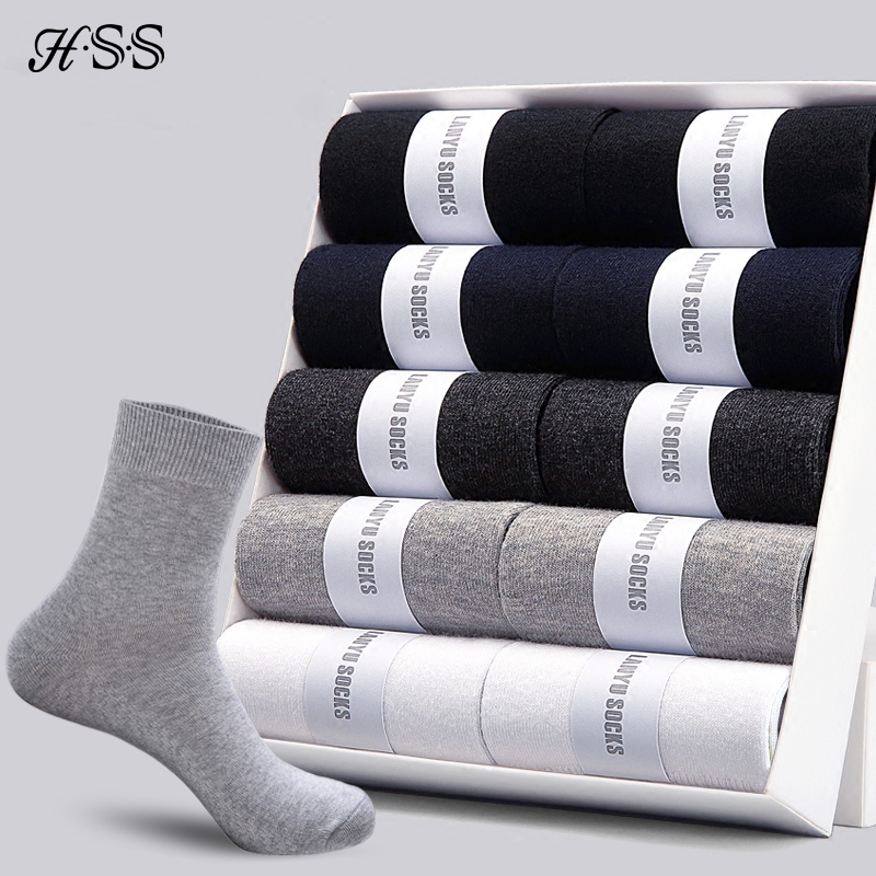 HSS 2020 Men's Cotton Socks New Styles 10 Pairs / Lot Black Business Men Socks Breathable Autumn Winter For Male US Size(7.5-12)