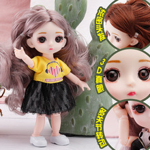 16 cm BJD Mini Doll 13 Movable Joint Girl Baby 3D Big Eyes Beautiful DIY Toy Dolls With Clothes Dress Up 1/12 Fashion Doll