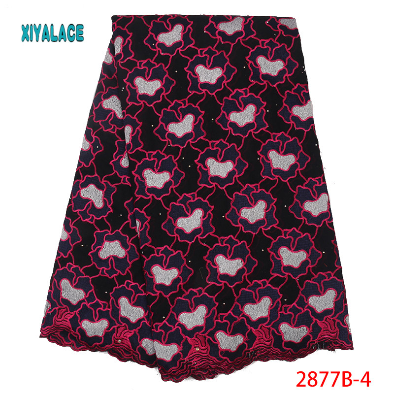 New Design African Dry Lace Fabrics High Quality Cotton Lace Fabric Swiss Voile With Beads Swiss Voile Lace Switzerland YA2877B