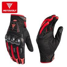 MOTOWOLF Motorcycle Gloves Leather Summer Breathable Carbon Fiber Guantes Moto Motocicleta Motocross Motorbike Riding Gloves