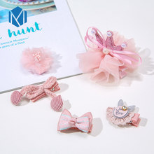 M MISM New 5pcs/Set Cute Princess Girls Pearl Crown Bow Barrettes Set Elastic Headband Lace Flower Hair Clips Accessories
